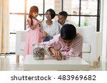 indian family teaching children ... | Shutterstock . vector #483969682