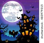 halloween night background with ... | Shutterstock . vector #483979315