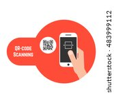 qr code scanning in red bubble. ... | Shutterstock . vector #483999112