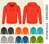 set of colored hoodies... | Shutterstock .eps vector #484003882