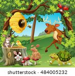 wild animals in the forest... | Shutterstock .eps vector #484005232