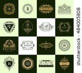 line graphics monogram. vintage ... | Shutterstock .eps vector #484005808