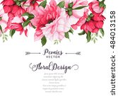 greeting card with peonies ... | Shutterstock .eps vector #484013158