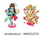 representation of hindu gods... | Shutterstock .eps vector #484021276