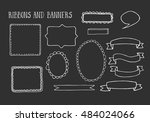 collection of handdrawn ribbons ... | Shutterstock .eps vector #484024066