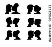 Woman And Man Faces. Vector...
