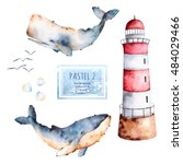 Watercolor Handpainted Whales...