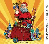 santa claus with bag of gifts.... | Shutterstock .eps vector #484035142