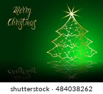 stylized christmas tree on... | Shutterstock .eps vector #484038262