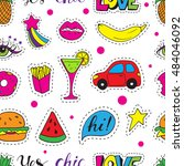 seamless pattern fashion patch... | Shutterstock .eps vector #484046092