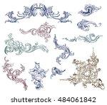 ornate vector design elements... | Shutterstock .eps vector #484061842