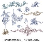 ornate vector design elements... | Shutterstock .eps vector #484062082
