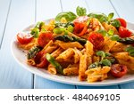 pasta with meat  tomato sauce... | Shutterstock . vector #484069105