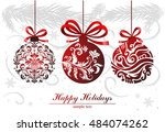 greeting card with christmas... | Shutterstock .eps vector #484074262