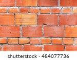 bright red brick wall mansonry...   Shutterstock . vector #484077736