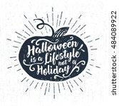 hand drawn halloween label with ... | Shutterstock .eps vector #484089922