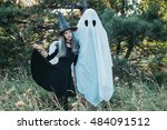 couple wearing in costume witch ... | Shutterstock . vector #484091512