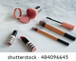 make up on marble table  | Shutterstock . vector #484096645