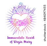 immaculate heart of blessed... | Shutterstock .eps vector #484097455