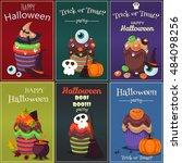 cupcake happy halloween scary... | Shutterstock .eps vector #484098256