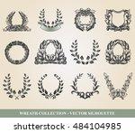 set from laurel wreath on the... | Shutterstock .eps vector #484104985