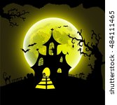 happy halloween card template ... | Shutterstock .eps vector #484111465