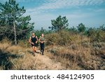 young sporty couple running in... | Shutterstock . vector #484124905