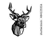 deer head sketch. polygonal... | Shutterstock .eps vector #484125316
