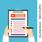 doctor holding clipboard and...   Shutterstock .eps vector #484151092
