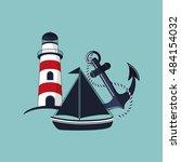 lighthouse emblem image  | Shutterstock .eps vector #484154032