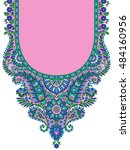 dress neck print design | Shutterstock . vector #484160956