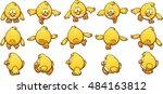 cartoon chicken sprites  ready... | Shutterstock .eps vector #484163812