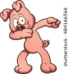 cartoon pig dabbing. vector... | Shutterstock .eps vector #484166566