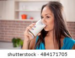 closeup on young woman drinking ... | Shutterstock . vector #484171705