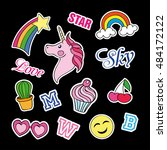 fashion patch badges with... | Shutterstock .eps vector #484172122