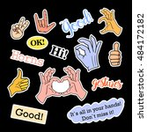 fashion patch badges. hands set.... | Shutterstock .eps vector #484172182
