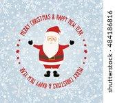 santa claus at snowflake... | Shutterstock .eps vector #484186816
