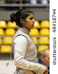 Small photo of TURIN, FEB 6: Women Foil World Cup, fencer SINGH Ambika (USA) stands on ward during tournament on February 6, 2010 in Turin, Italy.