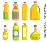 vegetable oil assorted bottles... | Shutterstock .eps vector #484189606