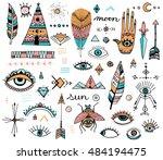 boho style doodle clip art ... | Shutterstock .eps vector #484194475