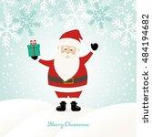 lovely santa claus at winter... | Shutterstock .eps vector #484194682