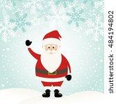 lovely santa claus at winter... | Shutterstock .eps vector #484194802