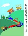 set of kids' cartoon cars... | Shutterstock .eps vector #484203355