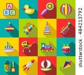 set kids toys blocks  toy duck  ... | Shutterstock .eps vector #484213792