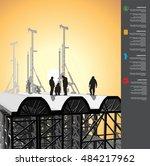 workers build the overpass | Shutterstock .eps vector #484217962