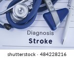 the diagnosis of stroke. paper... | Shutterstock . vector #484228216