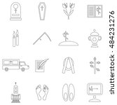 outline death and funeral icons ...