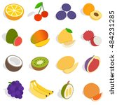 isometric fruit icons set.... | Shutterstock . vector #484231285