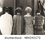 rear view of four women... | Shutterstock . vector #484242172