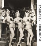 three dancers in fishnet... | Shutterstock . vector #484245928